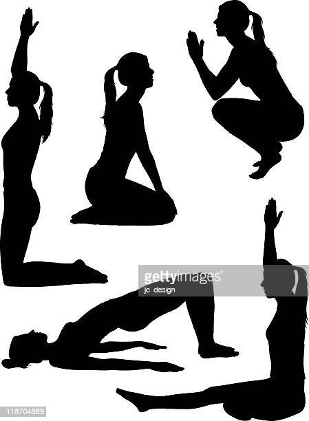 healthy yoga silhouettes - mid adult women stock illustrations
