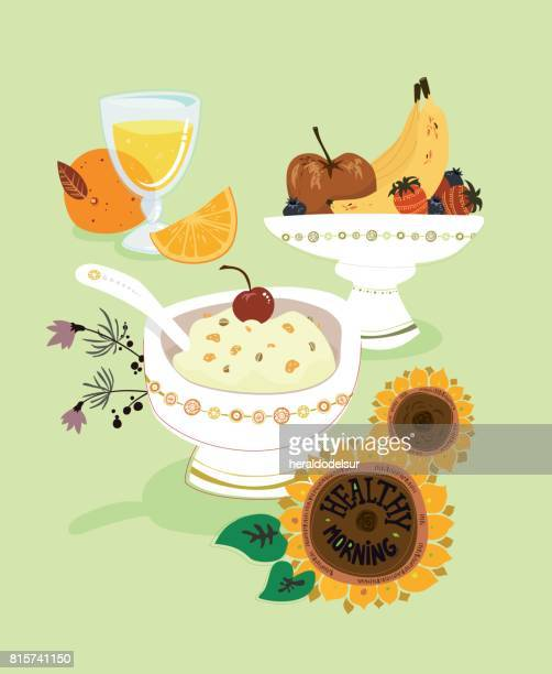 ilustrações de stock, clip art, desenhos animados e ícones de healthy_breakfast - mesa cafe da manha
