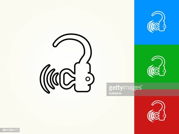 hearing aid black stroke linear icon - hearing aid stock illustrations, clip art, cartoons, & icons