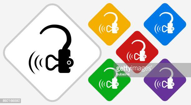hearing aid color diamond vector icon - hearing aid stock illustrations, clip art, cartoons, & icons