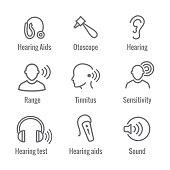 Hearing Aid or loss with Sound Wave Image