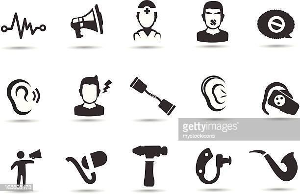 hearing loss icons - ear stock illustrations, clip art, cartoons, & icons