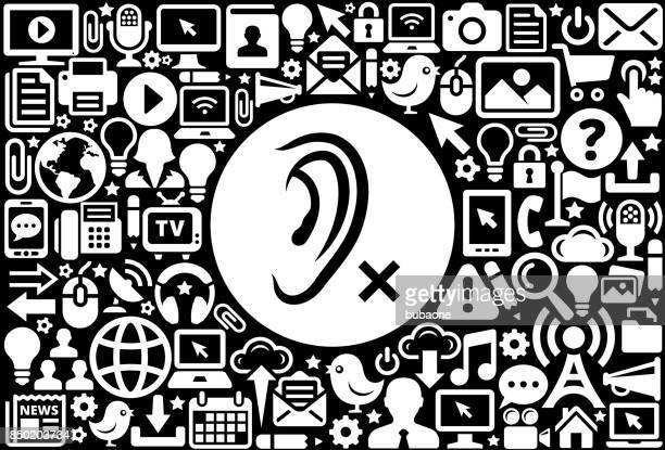 illustrations, cliparts, dessins animés et icônes de audience a perdu icône noir et blanc internet technology background - perte auditive