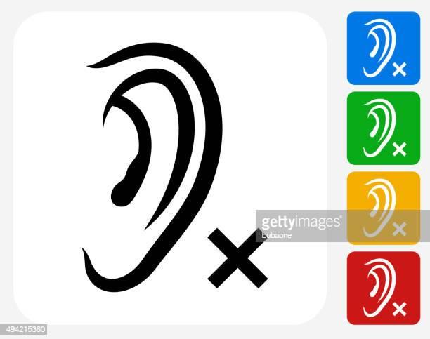 Hearing Lost Icon Flat Graphic Design