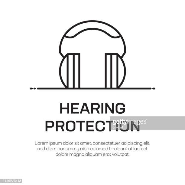 hearing protection vector line icon - simple thin line icon, premium quality design element - hearing protection stock illustrations