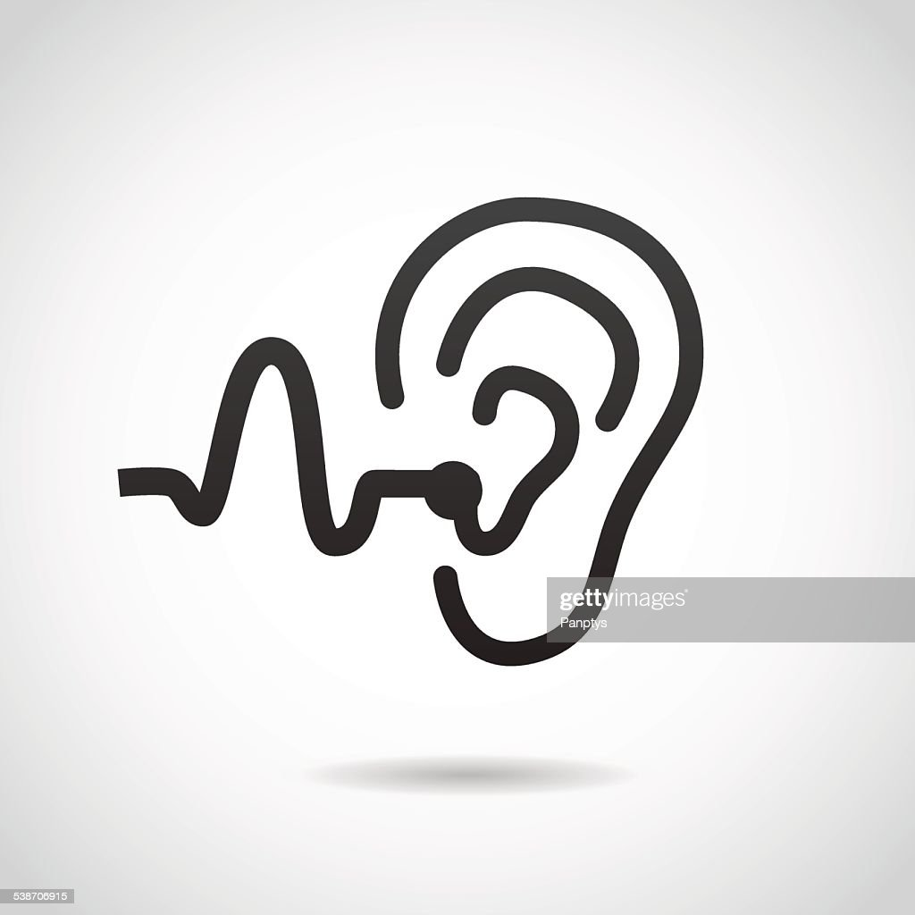 Hearing support icon isolated on white background.