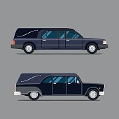 Hearse black car. Flat style icon. Isolated illustration. Coffin.