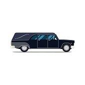 Hearse black car. Flat style icon. Isolated illustration.