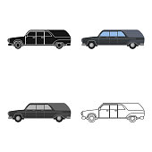 Hearse icon in cartoon style isolated on white background. Funeral ceremony symbol stock vector web illustration.