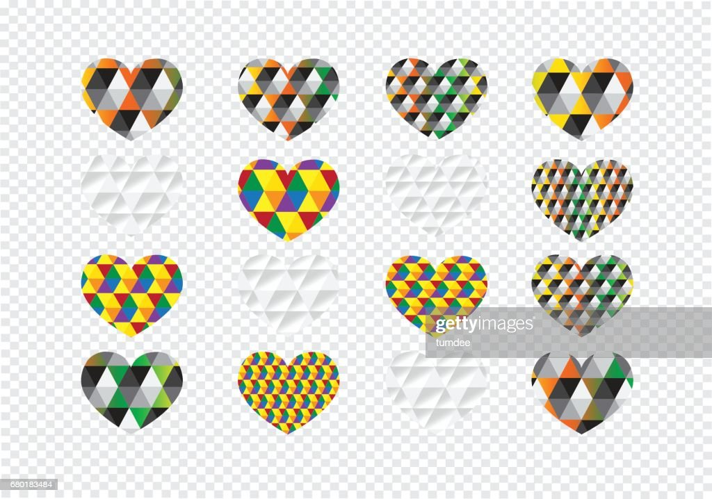 Heart Abstract Icons Signs And Symbols Set On Transparent Background