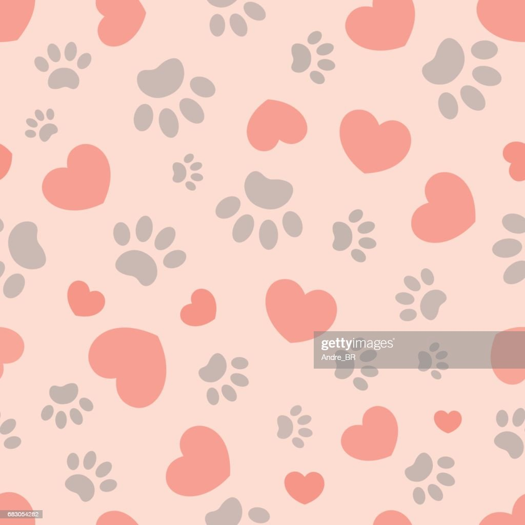 Heart and animal paw seamless pattern.