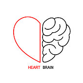 Heart and Brain concept, conflict between emotions and rational thinking,