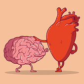 Heart and brain fighting vector illustration.