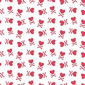 Heart and crossbones vector seamless pattern