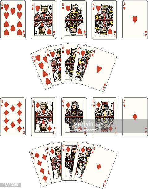 Heart and Diamond Suit Royal Flush playing cards