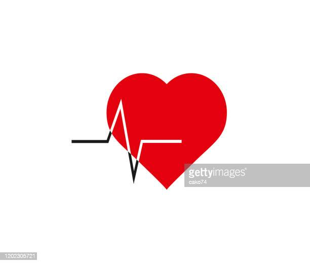 heart and heartbeat icon - beating heart stock illustrations