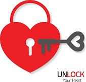 Heart and key icon. Unlock symbol.