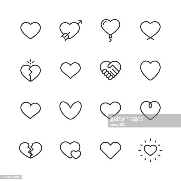 illustrazioni stock, clip art, cartoni animati e icone di tendenza di icone della linea cuore e amore. tratto modificabile. pixel perfetto. per dispositivi mobili e web. contiene icone come cuore, amore, emozione. - affettuoso