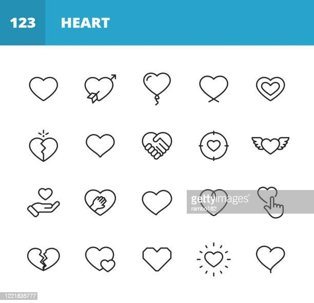 heart and love line icons. editable stroke. pixel perfect. for mobile and web. contains such icons as heart, love, emotion, relationship, marriage, wedding, parenting, family, broken heart, dating, happiness, pulse trace, valentine's day, romance. - broken heart stock illustrations