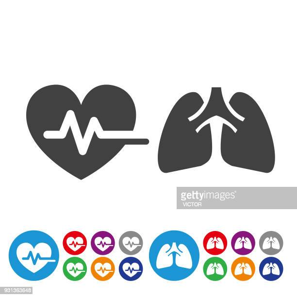 heart and lung icons - graphic icon series - lung stock illustrations