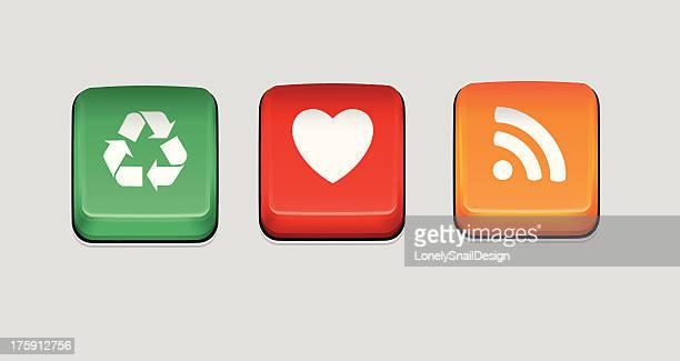 ilustraciones, imágenes clip art, dibujos animados e iconos de stock de rss, el corazón y reciclar botones - teclado de ordenador