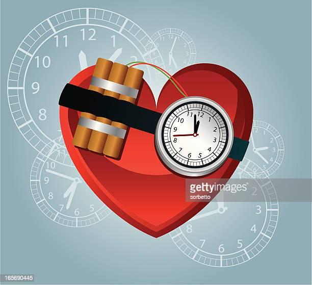 ilustraciones, imágenes clip art, dibujos animados e iconos de stock de ataque cardíacos - bomba