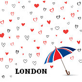 Heart background with umbrella. Love pattern for greeting card. Good for Valentine's day holiday