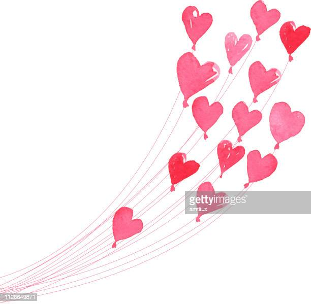heart balloons - heart shape stock illustrations
