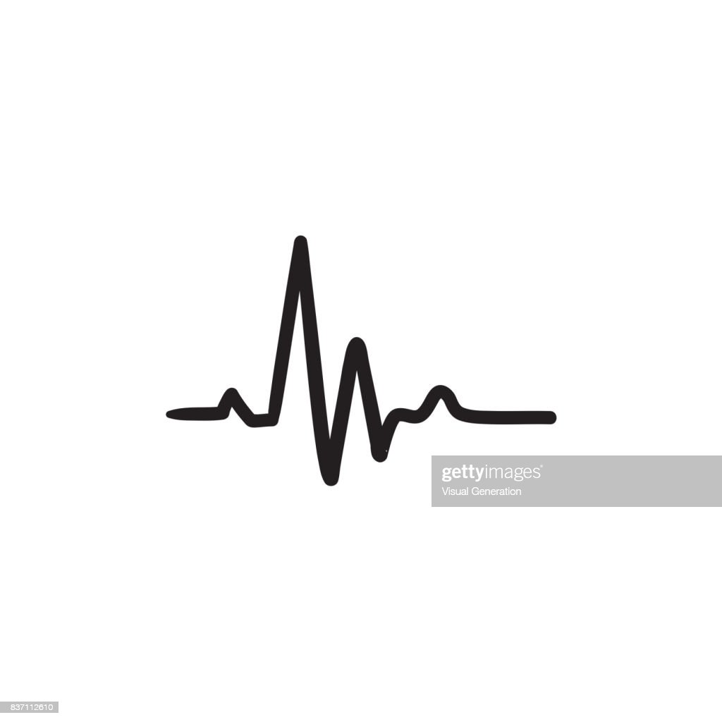 Heart beat cardiogram sketch icon