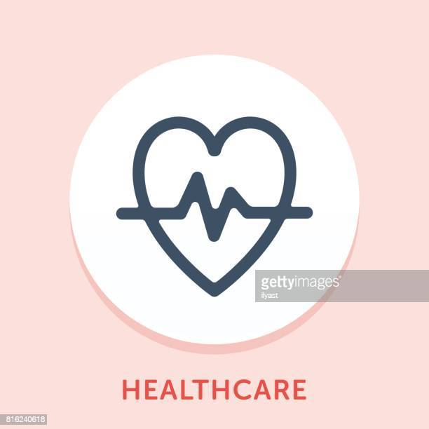 heart beat curve icon - beating heart stock illustrations