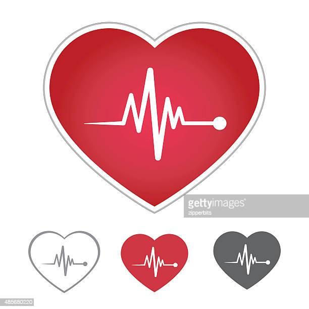 ilustraciones, imágenes clip art, dibujos animados e iconos de stock de heart beat icono en rojo corazón - cardiólogo
