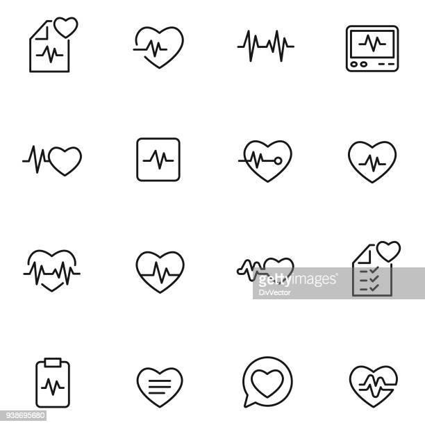 heart beat icon set - healthy lifestyle stock illustrations