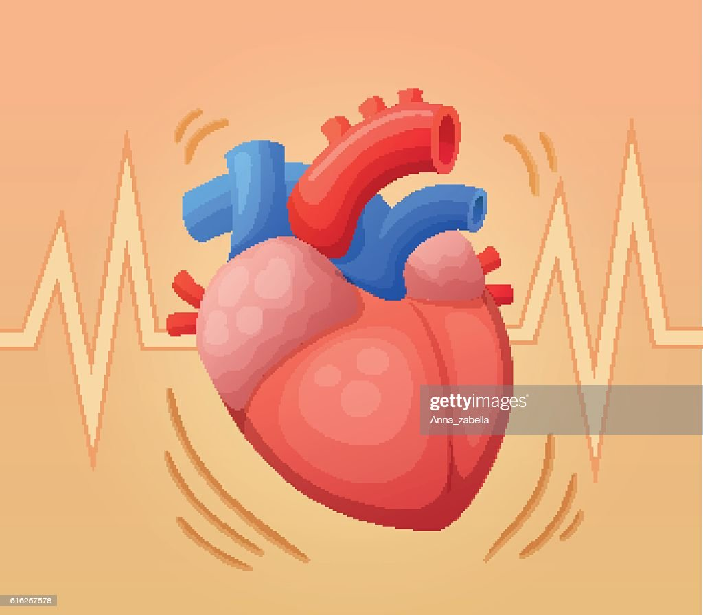 Heart beating. Cartoon vector illustration : Arte vetorial