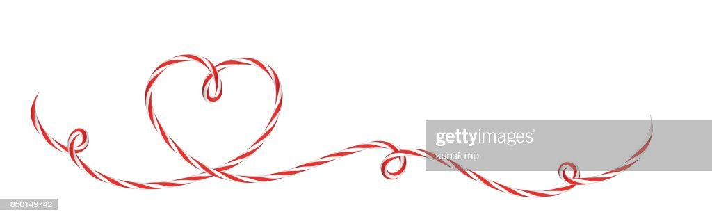 Heart bow from red-white cord string Background banner for holidays and presents