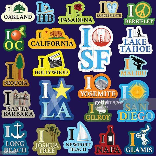 i heart california - long beach california stock illustrations, clip art, cartoons, & icons