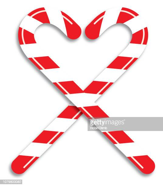heart candy canes - candy cane stock illustrations