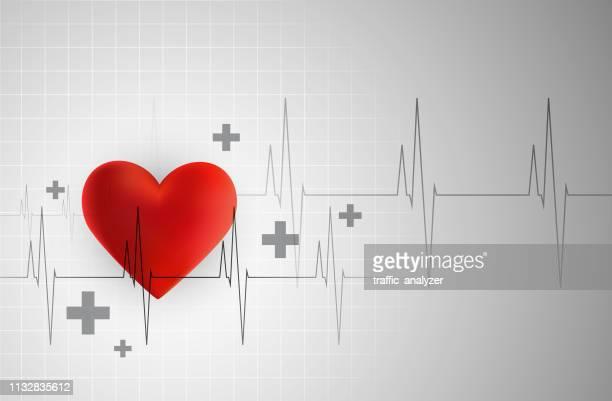 stockillustraties, clipart, cartoons en iconen met hart cardiogram - oscilloscoop