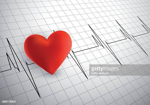 stockillustraties, clipart, cartoons en iconen met heart cardiogram - oscilloscoop