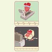 heart cartoon character, sport, high blood pressure