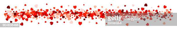 heart confetti in a row - love spotted abstract line for use as a design element - flowers white background stock illustrations, clip art, cartoons, & icons