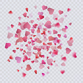 Heart confetti on transparent background, decoration for your valentine s day greeting cards. Vector eps 10