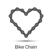 Heart created from a bicycle chain. Bike chain heart shape.