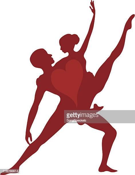 ilustraciones, imágenes clip art, dibujos animados e iconos de stock de corazón bailarines silueta - baile moderno