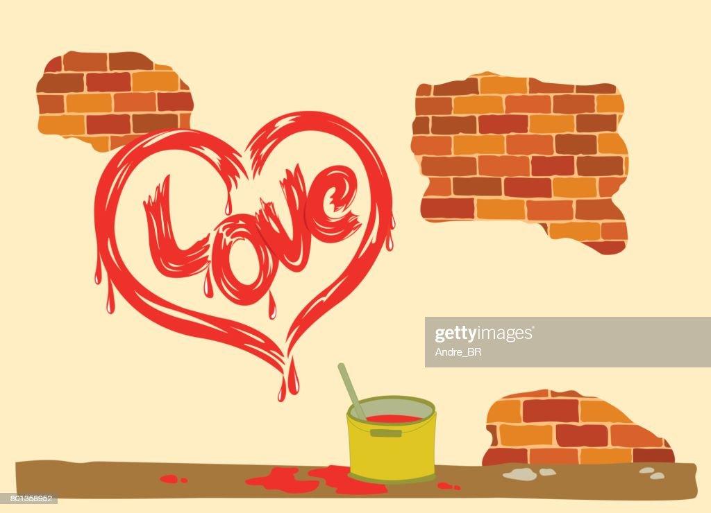 Heart drawing signed love peeling brick wall.