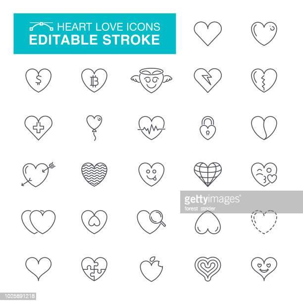 heart editable stroke icons - listening to heartbeat stock illustrations, clip art, cartoons, & icons
