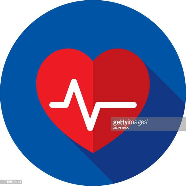 heart ekg icon flat - cardiologist stock illustrations
