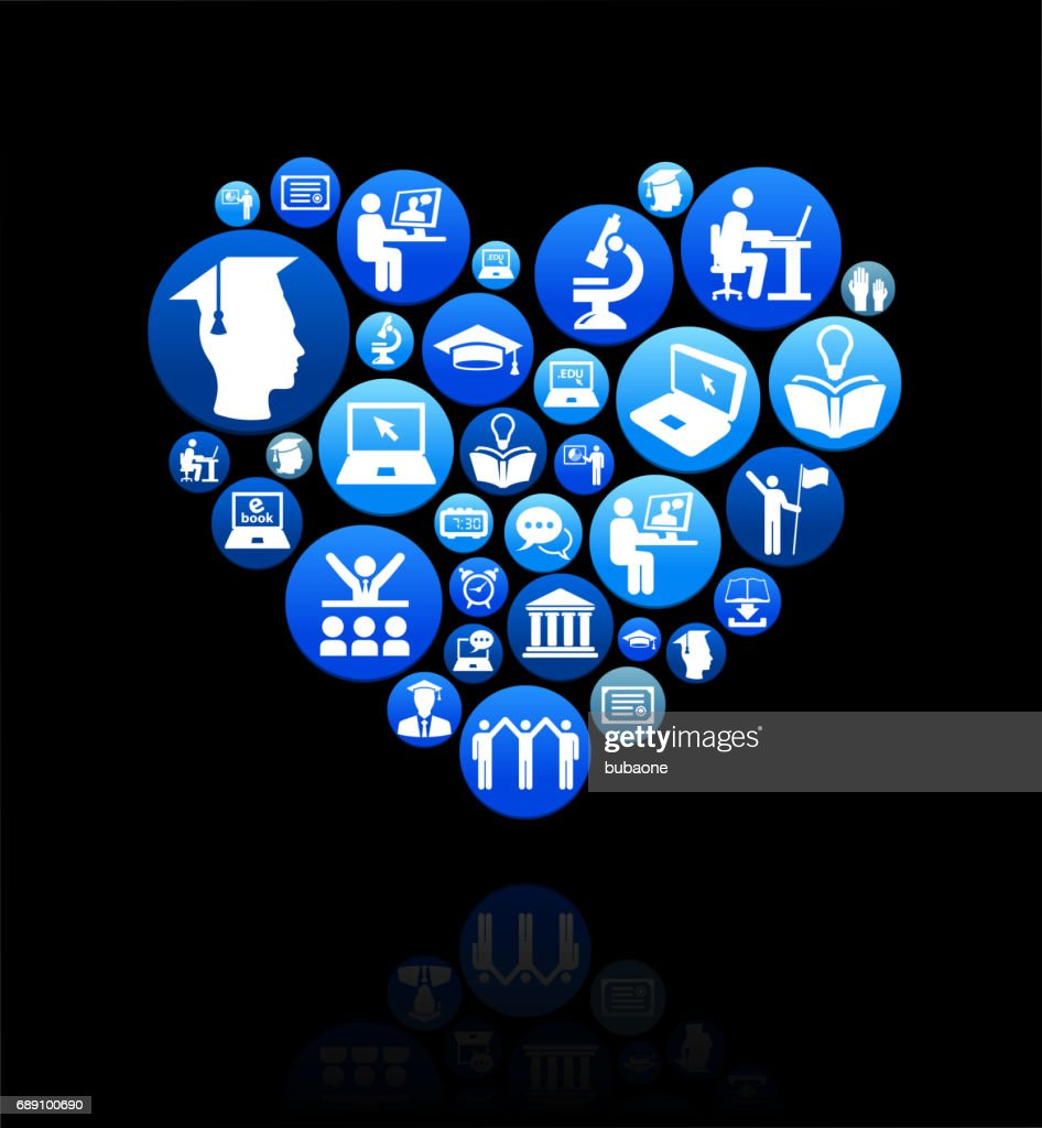 Heart E-learning and College Education Blue Button Pattern : Stock Illustration