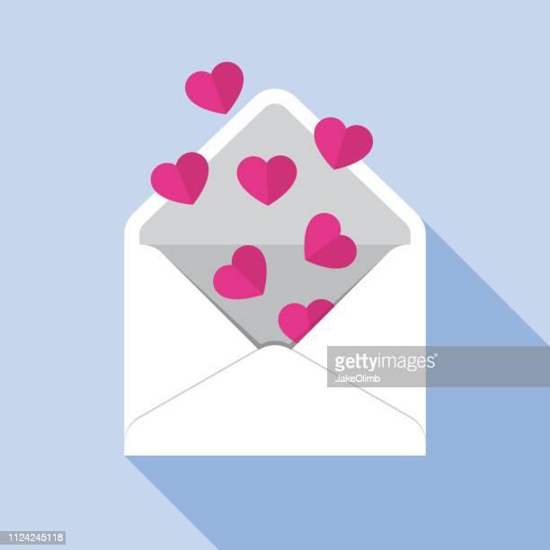 heart envelope open icon flat - valentine card stock illustrations