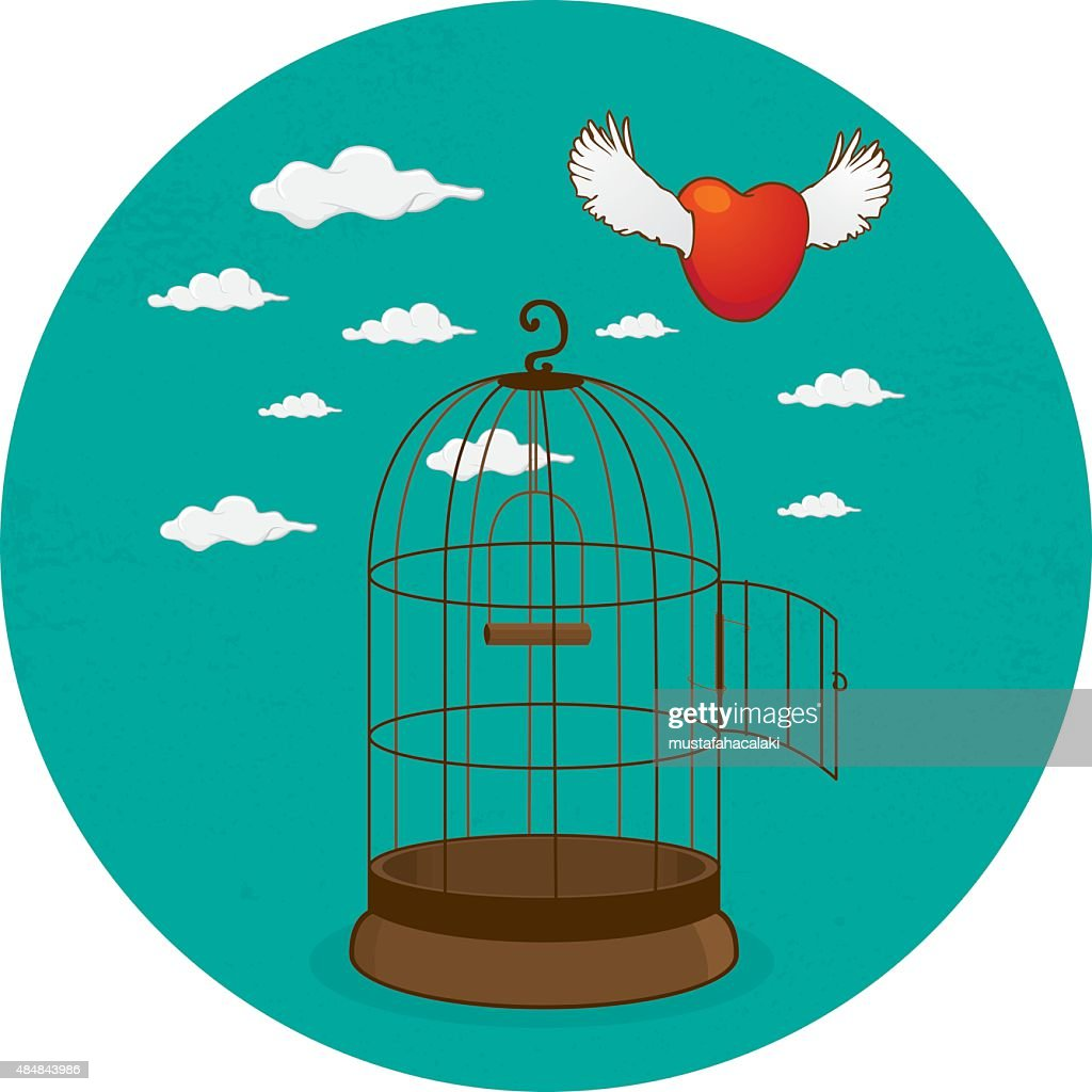 Heart escapes from its cage : stock illustration