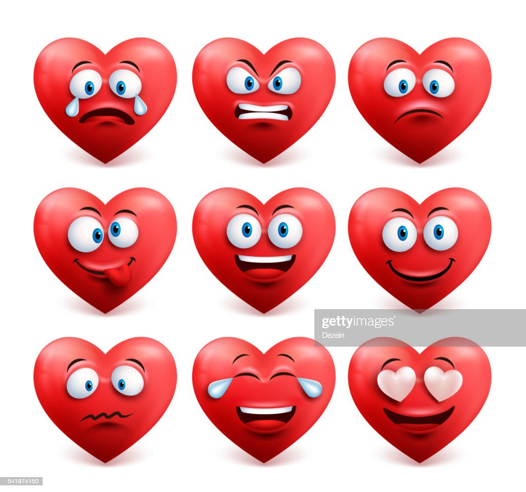 Heart face vector set in red with facial expressions